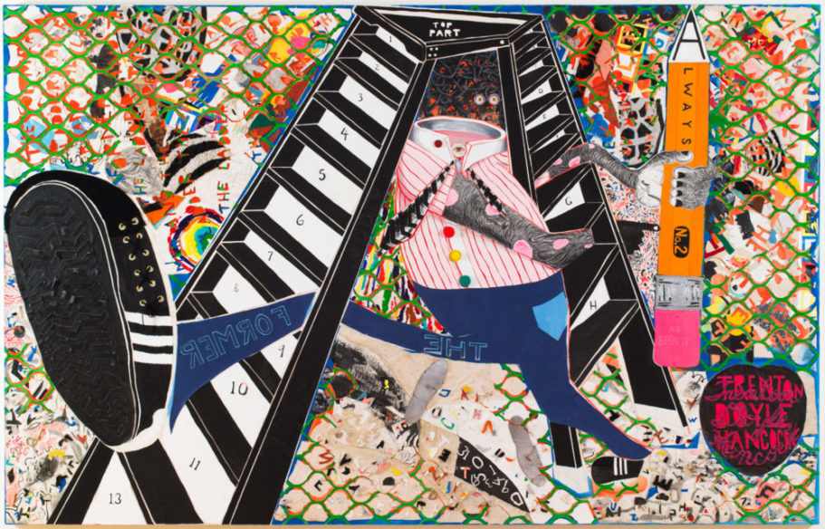 The Former and the Ladder or Ascension and a Cinchin', 2012; acrylic and mixed media on canvas; 84 × 132 × 3 inches.