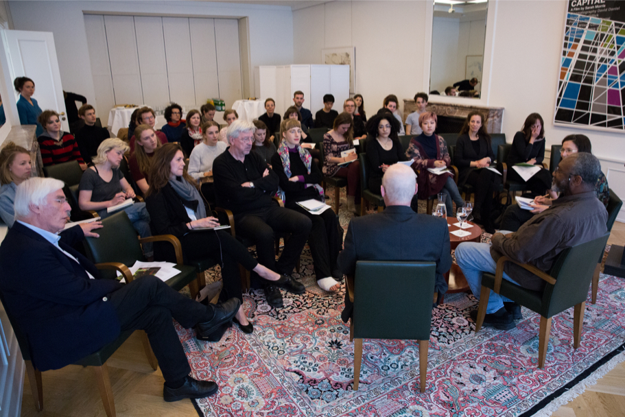 Kerry James Marshall's master class at the Academy, with students from Bard College Berlin, Freie Universität, and Universität der Künste, April 21, 2017. (Photo: Annette Hornischer)