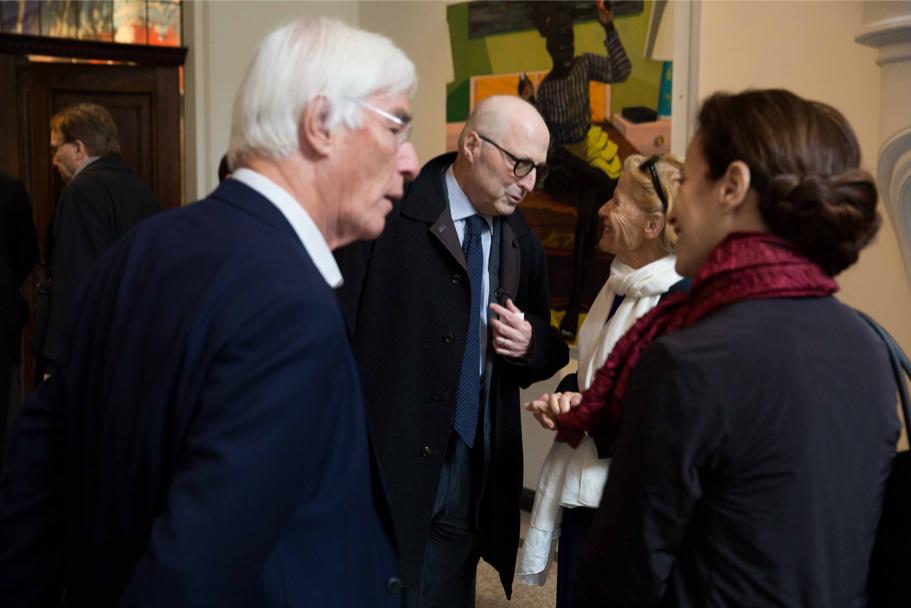 Gerhard Casper, Michael Steinberg, Regina Casper, And Katharina Galor At Villa Grisebach, April 29, 2017. (Photo: Annette Hornischer)