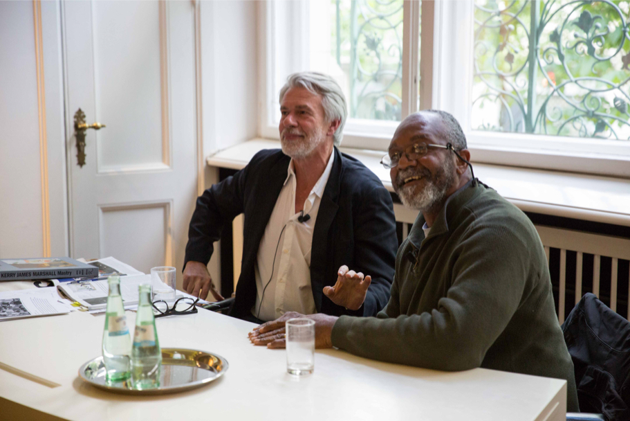 Chris Dercon and Kerry James Marshall during the Q&A period, April 29, 2017. (Photo: Annette Hornischer)