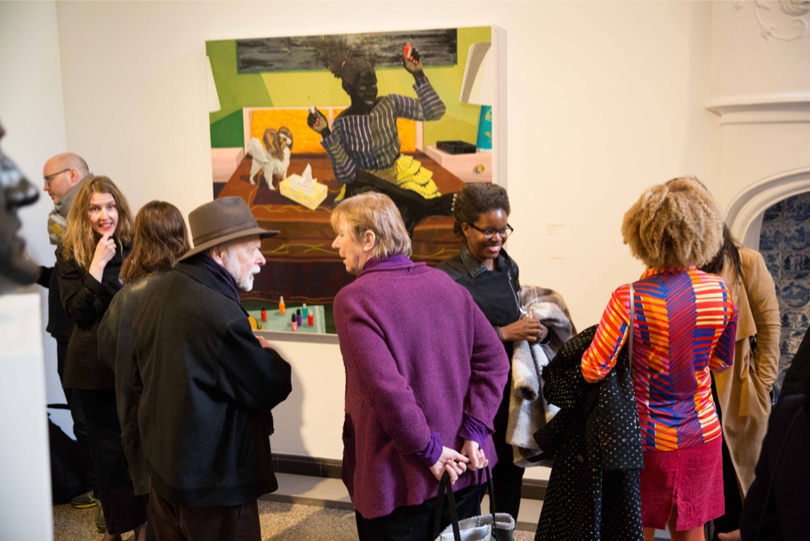 Viewers at Grisebach in front of Kerry James Marshall's work Untitled (Toe Painter), 2015. Private Collection. Courtesy the Artist and David Zwirner, London (Photo: Annette Hornischer)