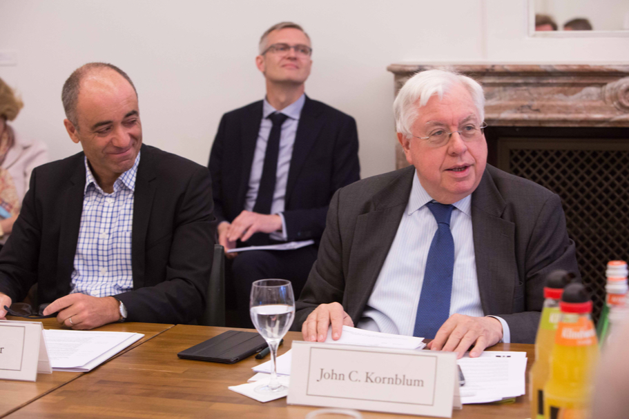 Volker Ziegler, head of 5G Leadership and chief architect at Nokia Mobile Networks, and John C. Kornblum, chairman of the Global Triangle Project, Academy trustee, and former US ambassador to Germany. (Photo: Annette Hornischer)