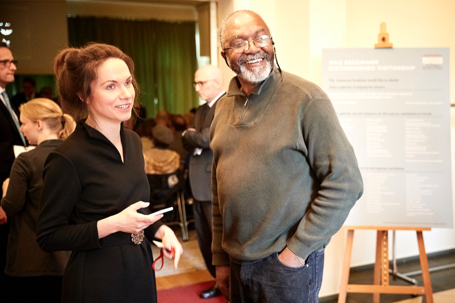 The Academy's development manager Berit Ebert with Kerry James Marshall, April 26, 2017. (Photo: Ralph K. Penno)