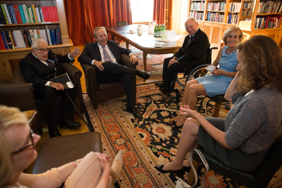 Henry Kissinger, Lawrence Summers, Wolfgang Schäuble, And Ingeborg Schäuble. Photo: Annette Hornischer