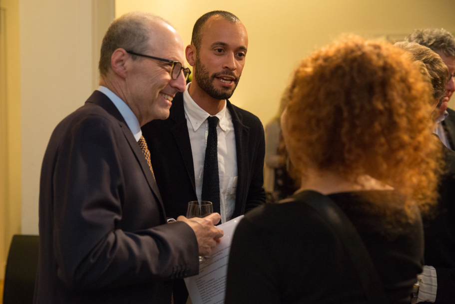 American Academy president Michael Steinberg and fall 2017 Holtzbrinck Fellow Thomas Chatterton Williams. Photo: Annette Hornischer