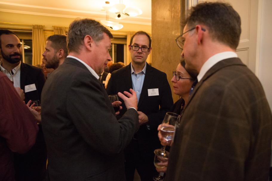 Guests Speaking With Cultural Historian Peter Schmelz (middle), A Fall 2017 Anna-Maria Kellen Fellow. Photo: Annette Hornischer