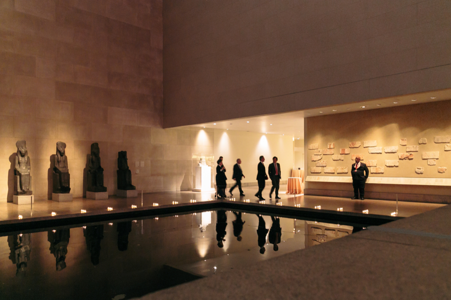 Guests arriving at the 2017 American Academy in Berlin gala in the Temple of Dendur room in the Sackler Wing of The Met. Photo: Lauren Kallen
