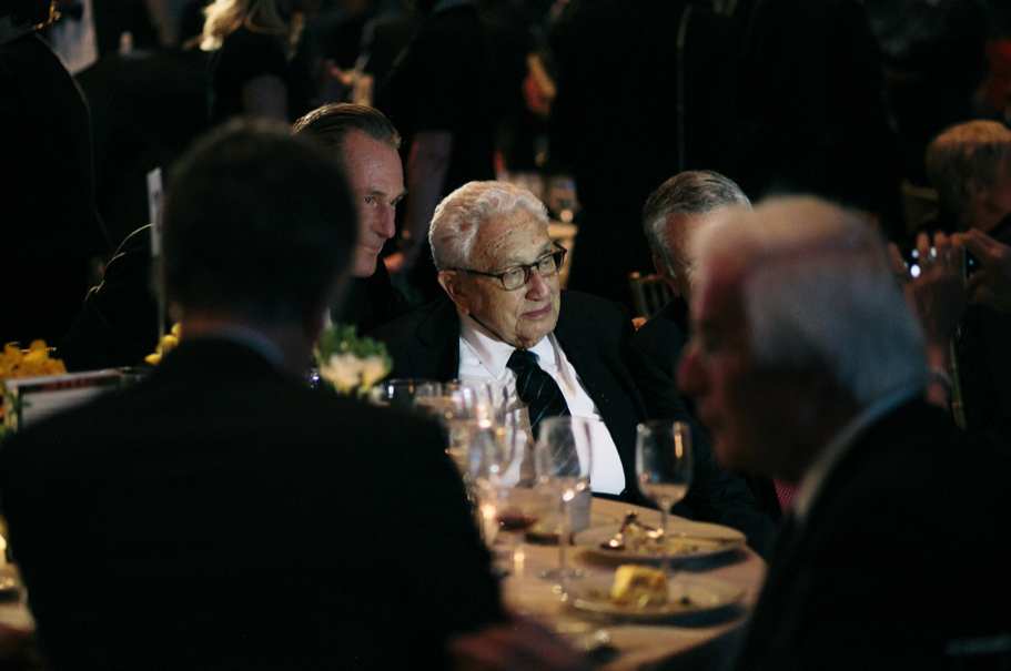 Matthias Döpfner speaks with Henry Kissinger at the 2017 American Academy in Berlin gala. Photo: Lauren Kallen