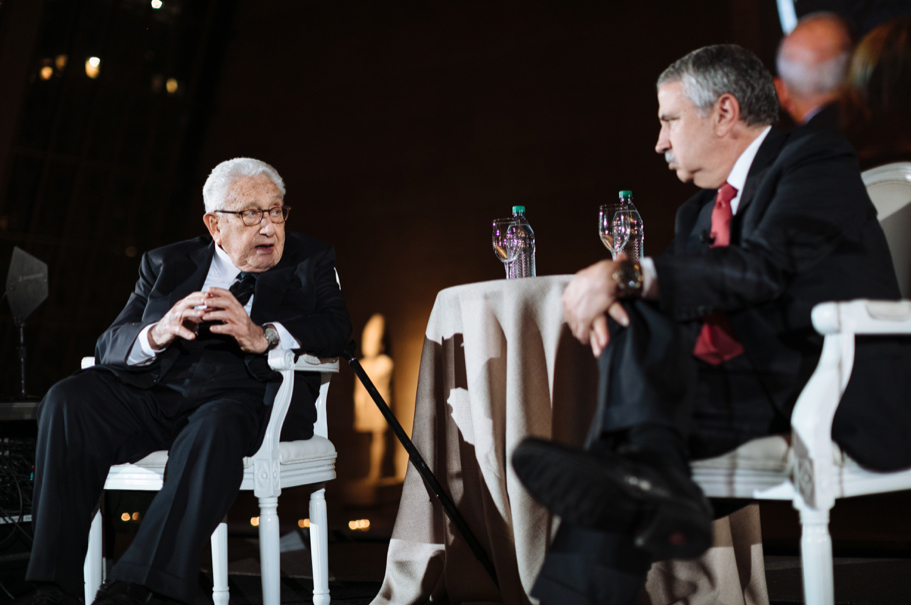 Henry Kissinger and Thomas Friedman. Photo: Lauren Kallen