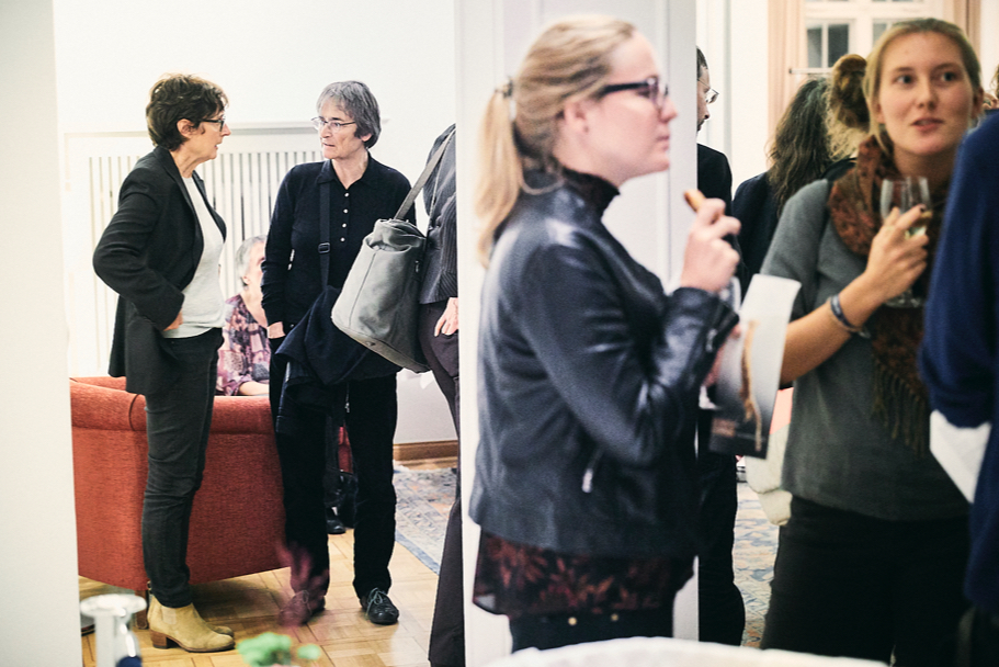 Guests at Gayatri Spivak's lecture reception at the American Academy. Photo: Ralph K. Penno