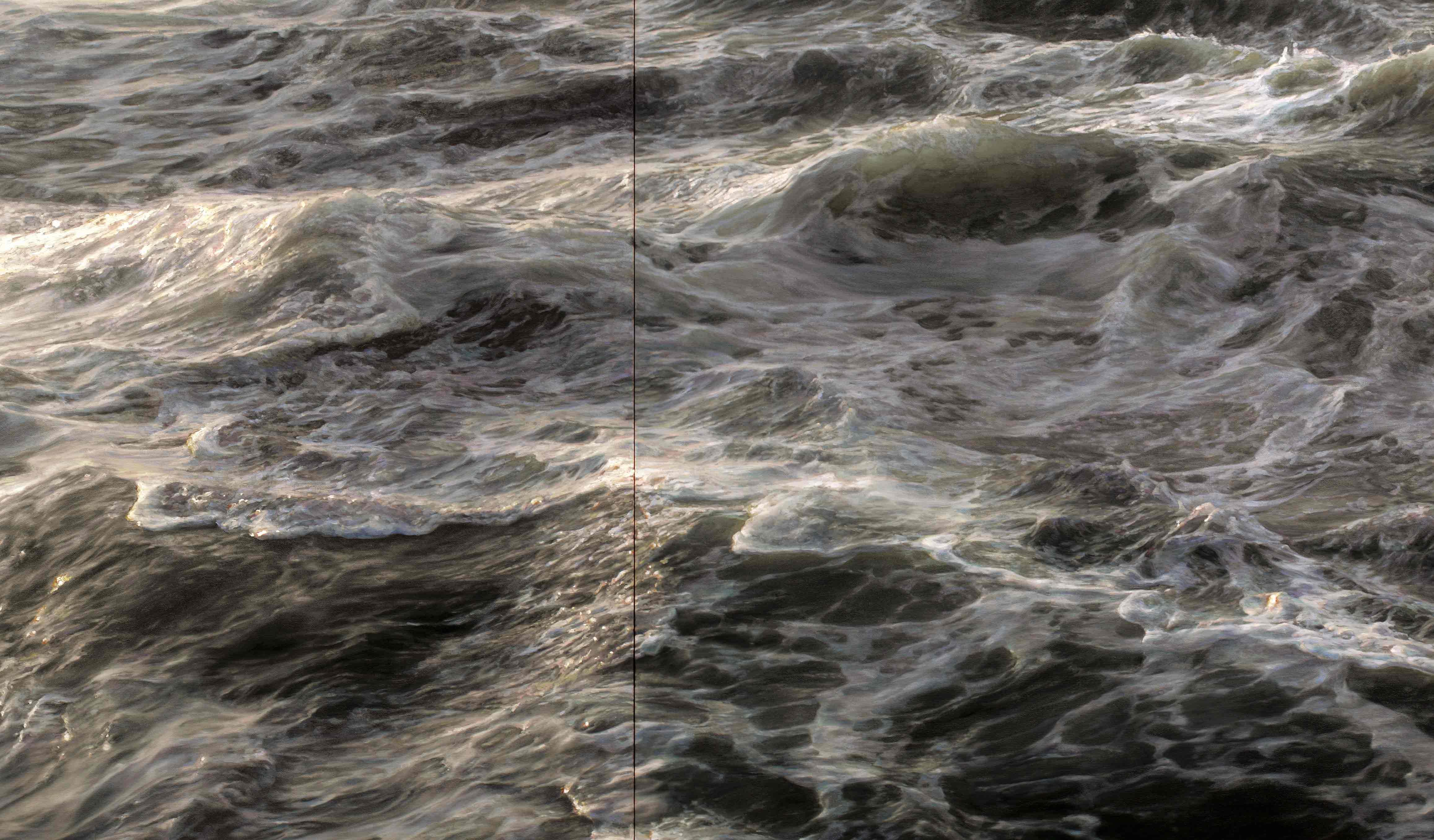"Element No. 3 (detail), oil on canvas, triptych, 72""x234"" (2011)"