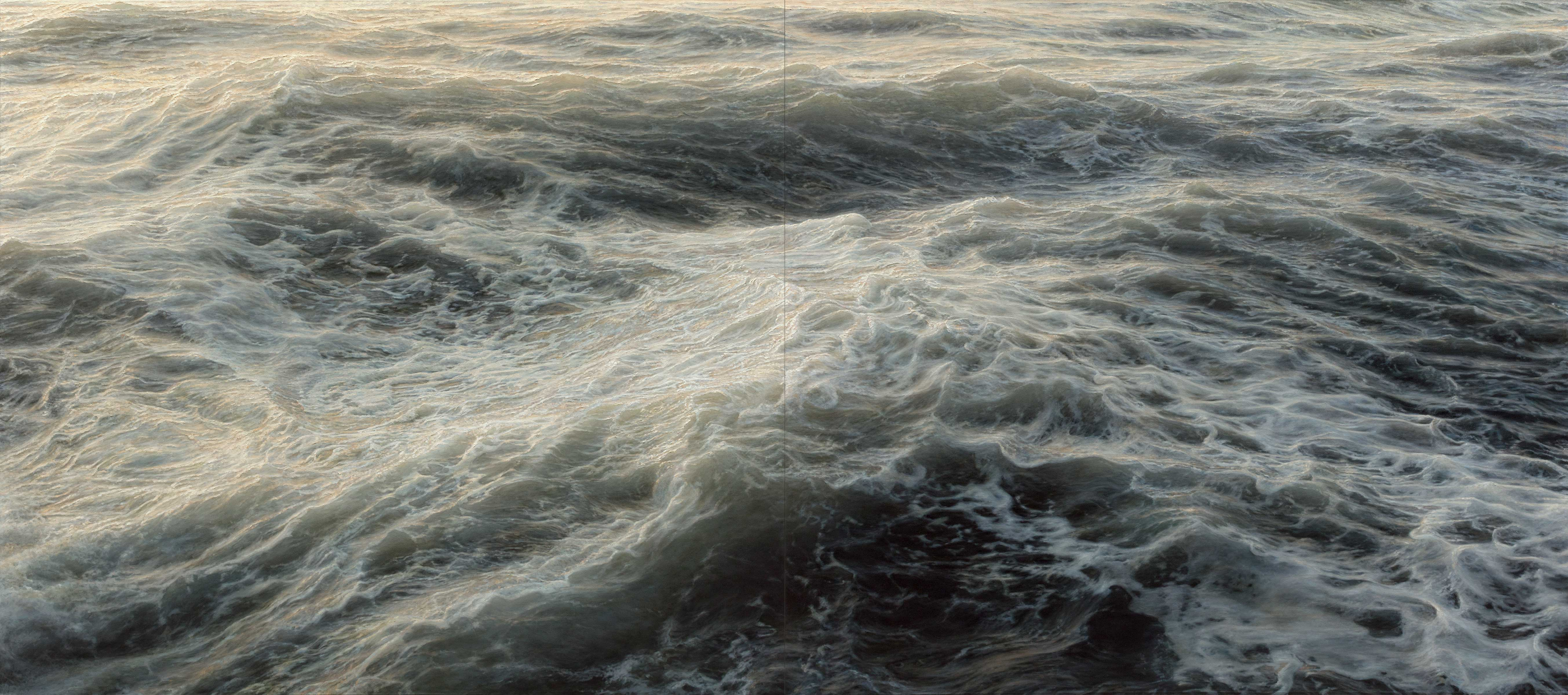 "Element No. 5, oil on canvas, diptych, 80""x180"" (2012)"
