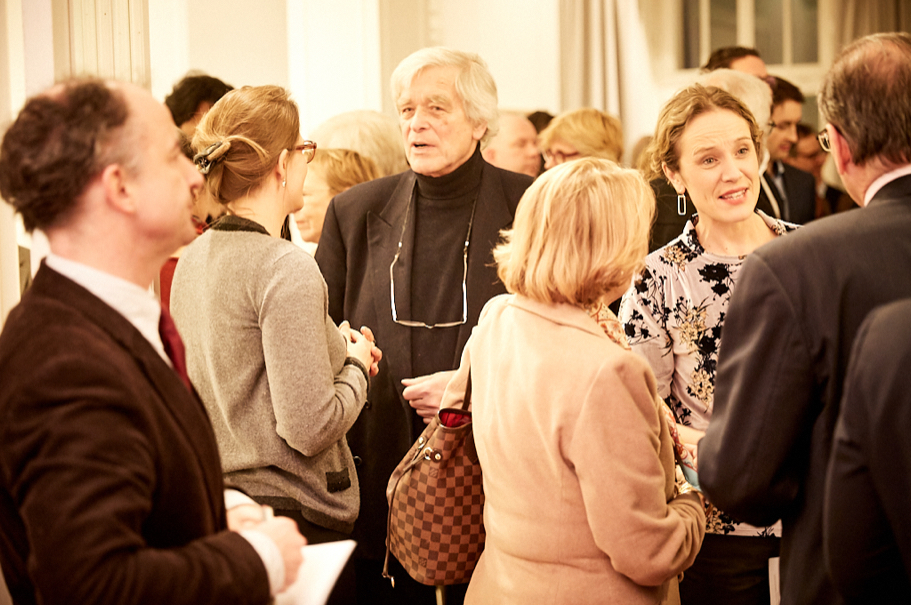 The reception following the Feb. 15 panel panel discussion. Photo: Ralph K. Penno