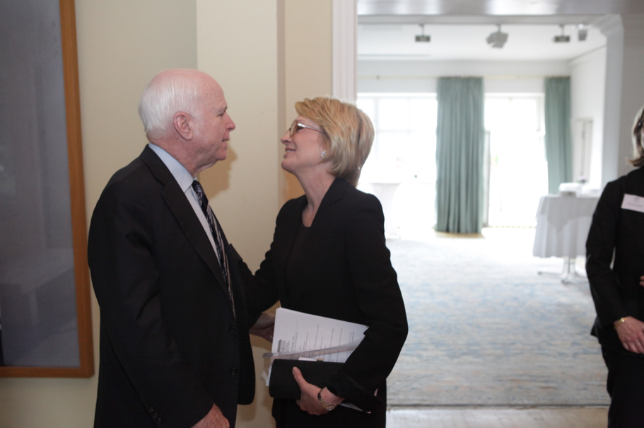 Senator John McCain and Academy chairman Gahl Burt at the American Academy in Berlin, June 10, 2013. Photo: Annette Hornischer