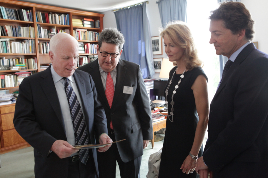 Senator McCain, former Academy executive directory Gary Smith, Comtesse Vera de Lesseps, and Ferdinand de Lesseps. Photo: Annette Hornischer