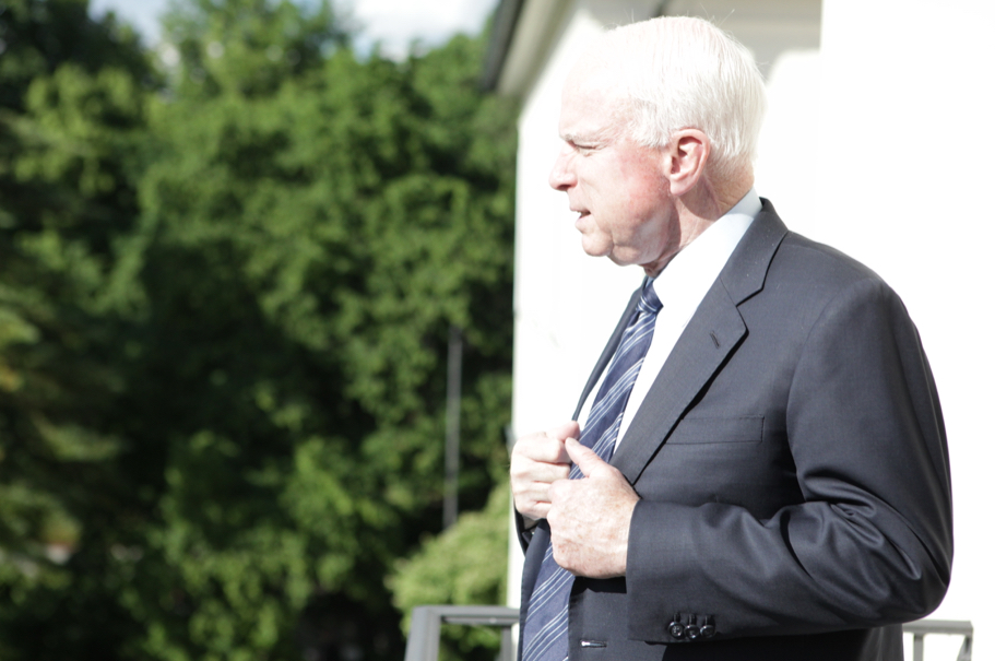 Senator John McCain on a balcony of the Hans Arnhold Center, June  10, 2013. Photo: Annette Hornischer