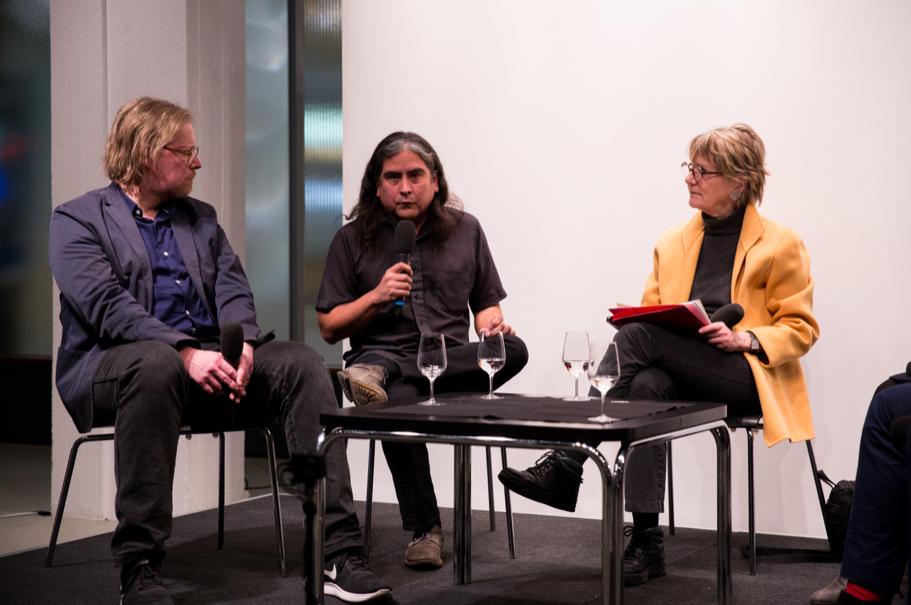 Jörg Heiser, Raven Chacon, And Pamela Rosenberg. Photo: Annette Hornischer