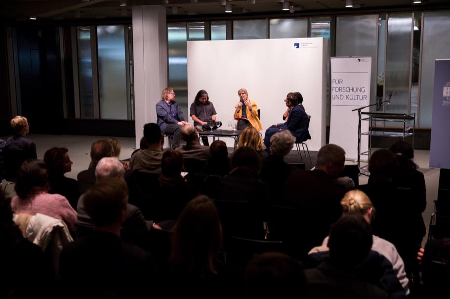 The arts panel: Jörg Heiser, Raven Chacon, moderator Pamela Rosenberg, Julia Grosse, and Josh Kun. Photo: Annette Hornischer