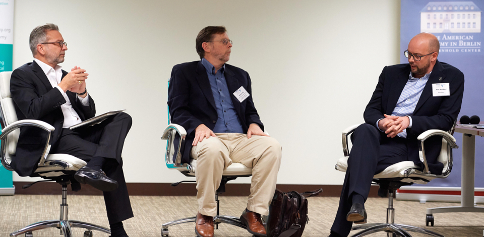 "Pascal Levensohn, Steven Hill, and Jens Wohltorf at ""Managing Disruption: How to Ensure that Society Benefits from Technology and Innovation,"" March 15, 2018 (Photo: Brian Byllesby)"