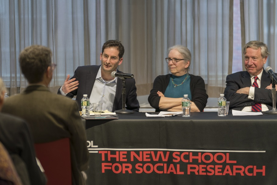 Panelists included Federico Finchelstein, professor of history at The New School for Social Research; Katherine Pratt Ewing, 1999 Academy alumna and professor of religion at Columbia University; and Sean Wilentz, 2015 Academy alumnus and professor of history at Princeton University. Photo: Oscar Frasser