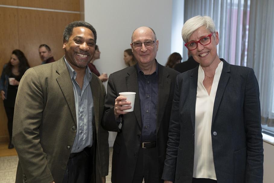2017 American Academy alumnus Mark Pottinger, composer and former Academy guest lecturer Raphael Mostel, and UMBC associate professor of history Marjoleine Kars. Photo: Oscar Frasser
