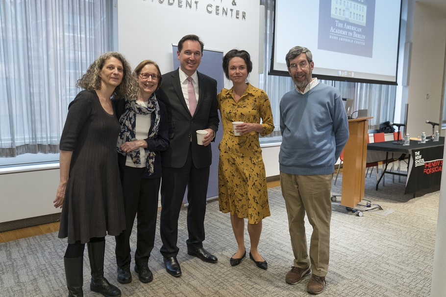 The American Academy's fellows selection manager Carol Scherer, 2017 alumna Nancy Foner, COO Christian Diehl, head of development & acting head of programs Berit Ebert, and Edelman's former senior vice president Peter Swerdloff. Photo: Oscar Frasser