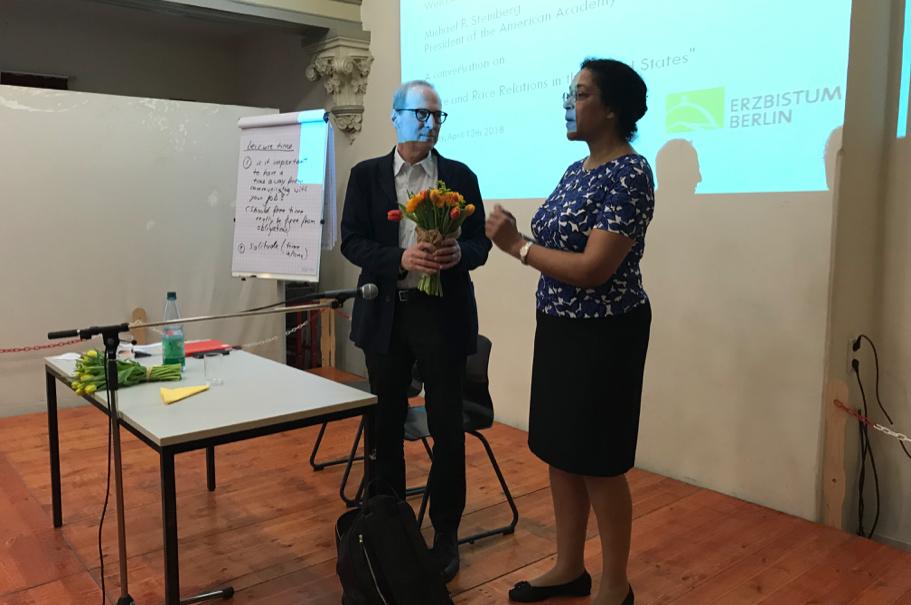 Michael Steinberg and English teacher Francine Jobatey