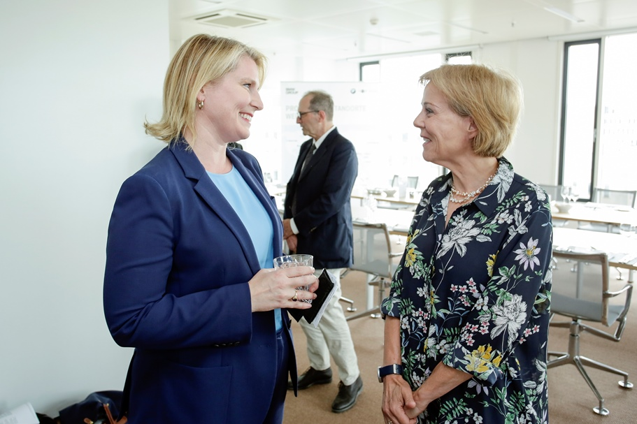 Amy Wilkinson speaks with Nicola Brüning at BMW's Berlin Representative Office. Photo: BMW