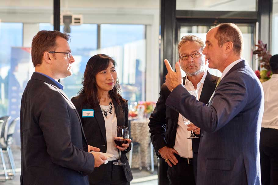 Abe Heifets (Atomwise); Judy Chou (Bayer); Pascal Levensohn (American Academy in Berlin); Dieter Weinand (Bayer). Photo: Brian Byllesby