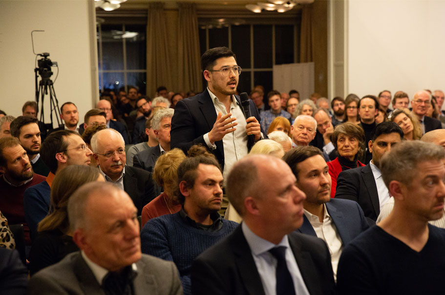 The audience at Ben Rhodes's talk at the American Academy, Feb. 14, 2019. Photo: Annette Hornischer