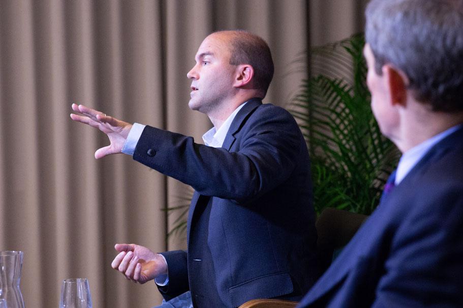 Obama speechwriter Ben Rhodes speaks to an audience at the American Academy in Berlin. Photo: Annette Hornischer