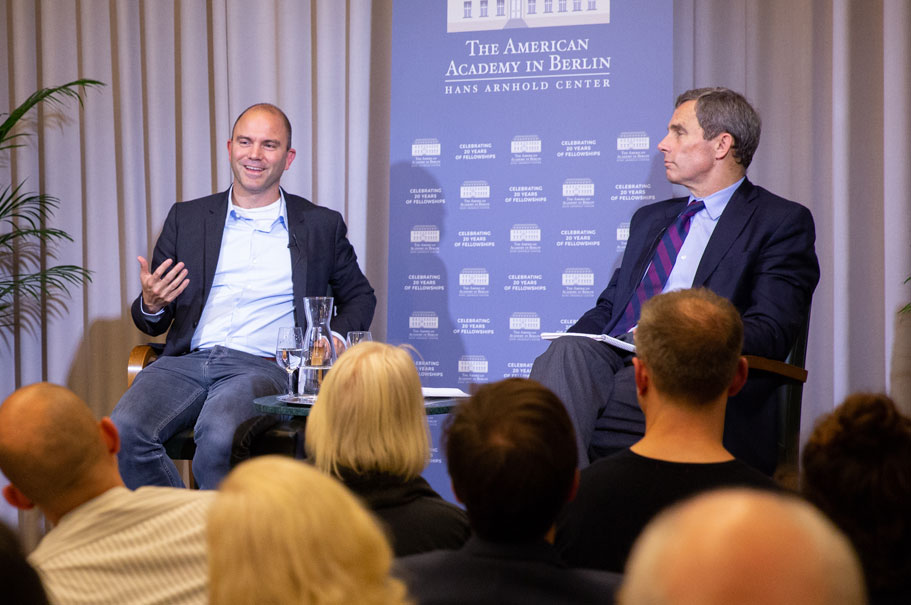 Ben Rhodes speaks with Terry McCarthy at the American Academy, Feb. 14, 2019. Photo: Annette Hornischer