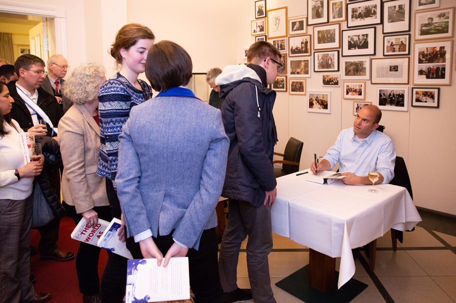 Ben Rhodes signs copies of his book The World as It Is at the American Academy, February 14, 2019. Photo: Annette Hornischer