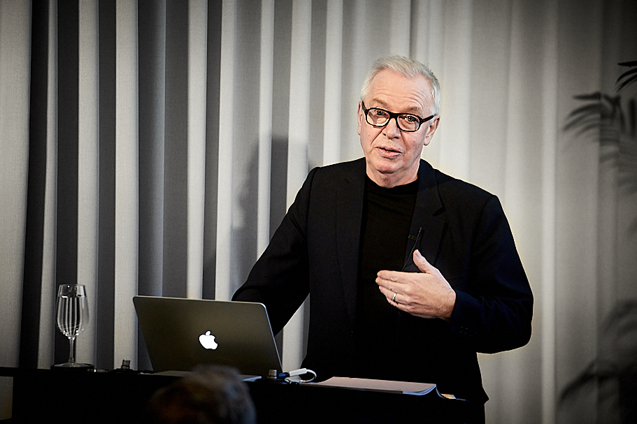 Sir David Chipperfield delivers a Marina Kellen French Lecture at the Academy, March 21, 2019. Photo: Ralph K. Penno