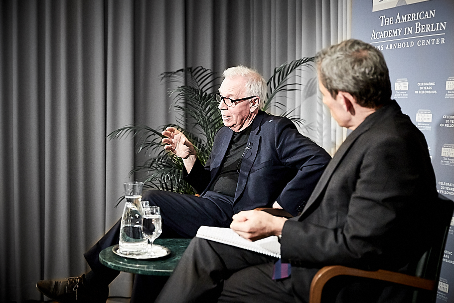 Sir David Chipperfield speaks with Academy president Terry McCarthy. Photo: Ralph K. Penno