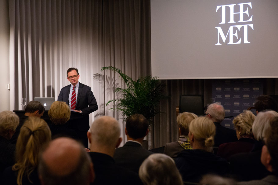 CEO and president of The Met Daniel T. Weiss speaks at the Academy on March 20, 2019, about museums and the public interest. Photo: Annette Hornischer