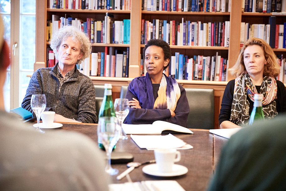 Blair Rutherford, a professor of sociology and anthropology at Carleton University (Ottawa, Canada); Natacha Nsabimana, Collegiate Assistant Professor, University of Chicago; and Johana Gallup, American Academy in Berlin. Photo: Ralph K. Penno