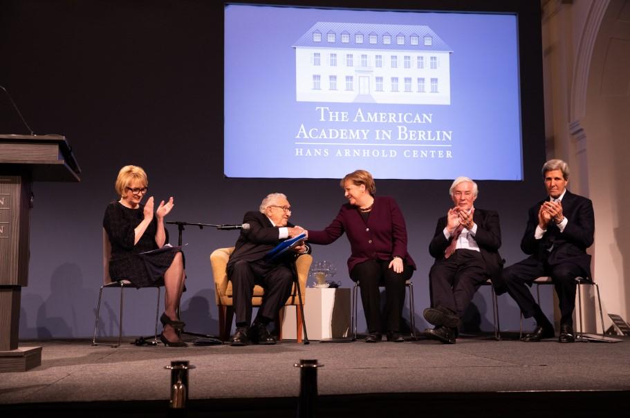 Academy chairman Gahl Burt, Henry Kissinger, Angela Merkel, Gerhard Casper, and John Kerry on stage at the Kissinger Prize ceremony, January 21, 2020. Photo: Annette Hornischer