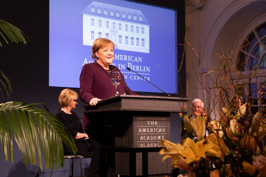 Chancellor Angela Merkel speaks after receiving the Henry  A. Kissinger Prize. Photo: Annette Hornischer