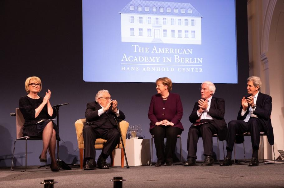 Chancellor Angela Merkel is applauded after receiving the Henry A. Kissinger Prize. Photo: Annette Hornischer