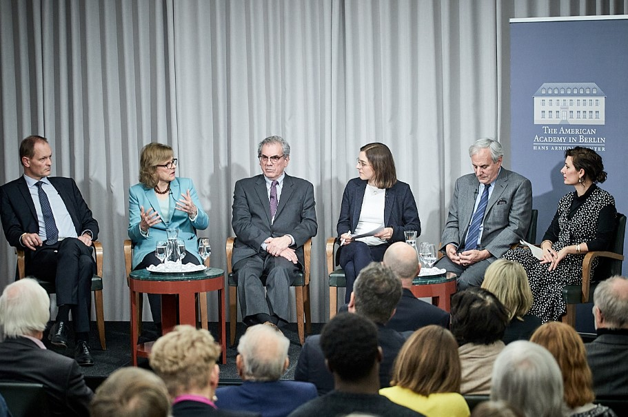 "The Mellon public panel ""New Responses to Humanitarian Migrations:  A Transatlantic Conversation,"" January 9, 2020. Photo: Ralph K. Penno"