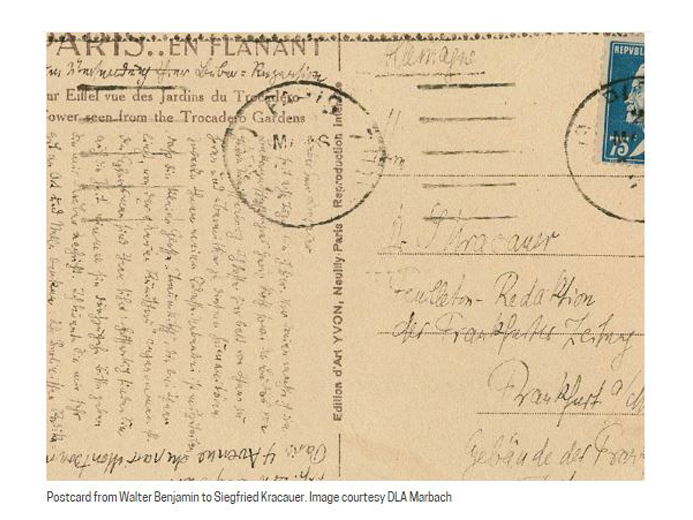 Schreiben von unterwegs:  Postkarten von Walter Benjamin