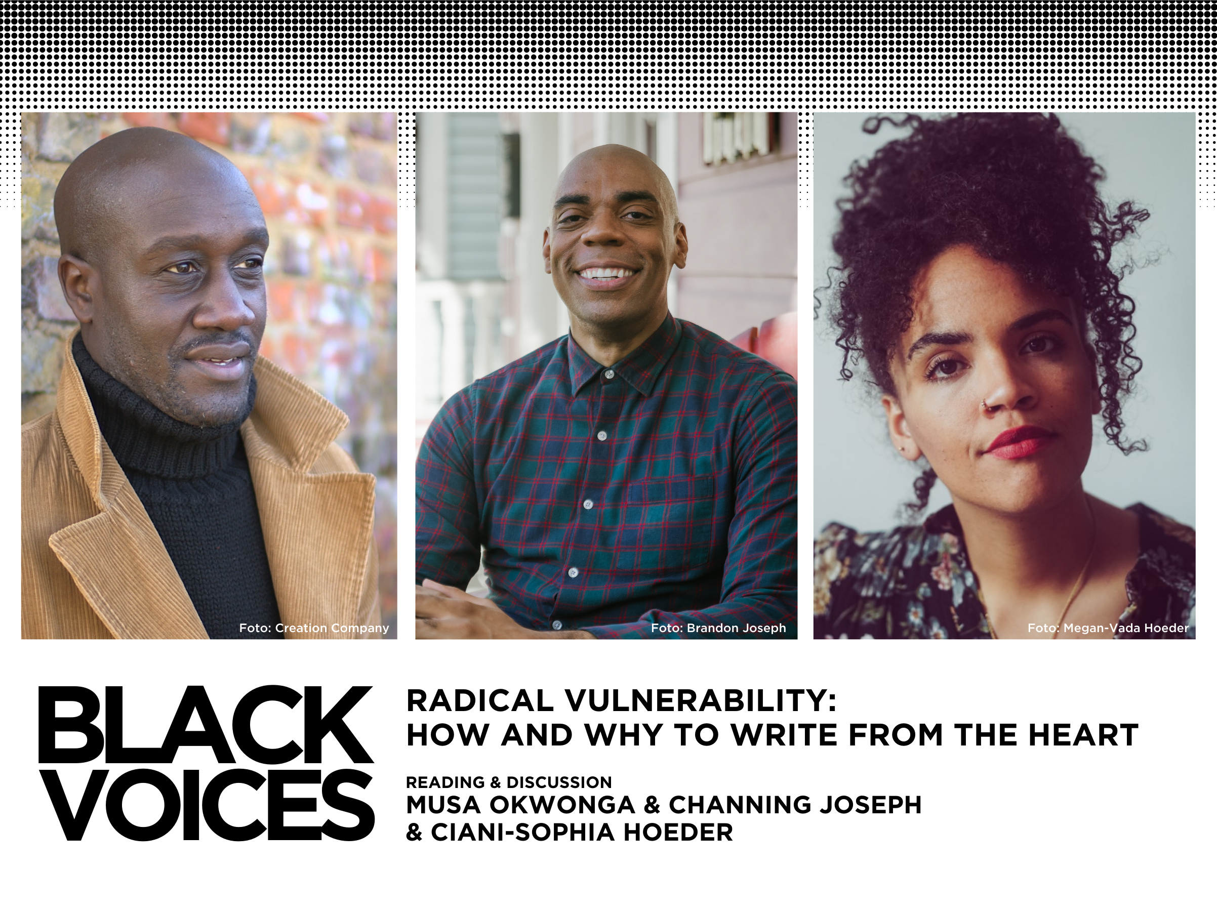 Black Voices: Reading+Discussion with Channing Joseph, Musa Okwonga & Ciani-Sophia Hoeder
